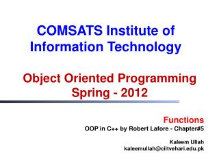 Object Oriented Programming Spring  -  2012