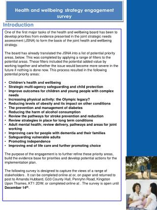 Health and wellbeing strategy  engagement survey