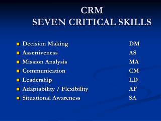 CRM SEVEN  CRITICAL SKILLS