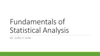 Fundamentals of Statistical Analysis