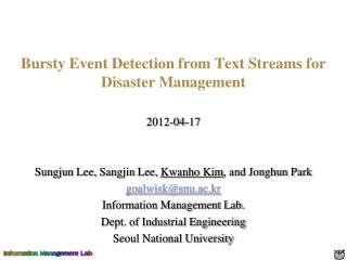 Bursty Event Detection from Text Streams for Disaster Management