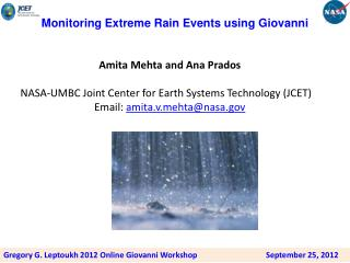 Monitoring Extreme Rain Events using  G iovanni