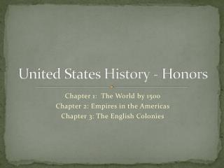 United States History - Honors