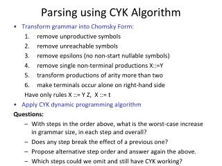 Parsing using CYK Algorithm