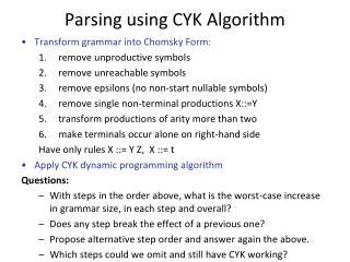 Parsing using CYK Algorithm