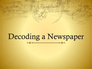 Decoding a Newspaper