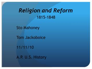 Religion and Reform