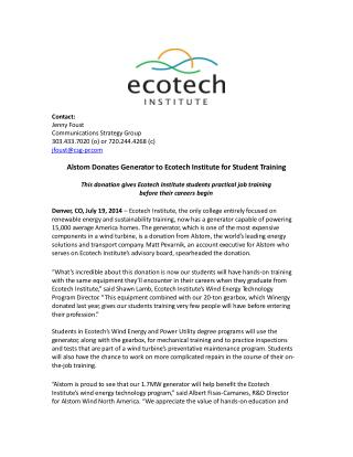 Alstom Donates Generator to Ecotech Institute for Student Tr