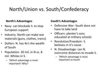 North/Union vs. South/Confederacy