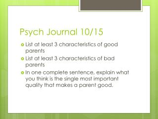 Psych  Journal 10/15