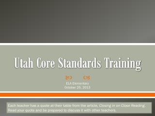 Utah Core Standards Training
