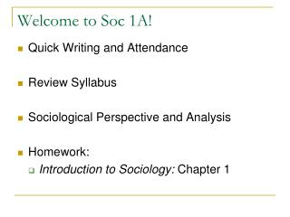 Welcome to Soc 1A!
