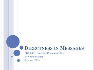 Directness in Messages