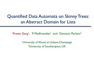 Quantified Data Automata on Skinny Trees: an Abstract Domain for Lists
