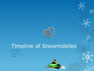 Timeline of Snowmobiles