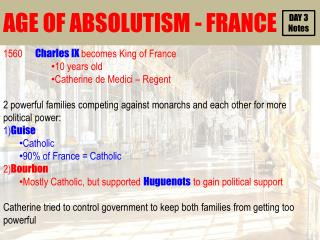 AGE OF ABSOLUTISM - FRANCE