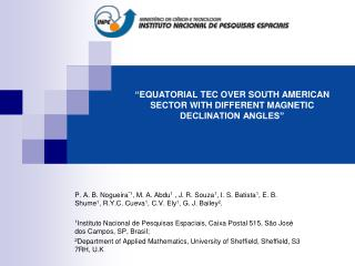 """"""" EQUATORIAL TEC OVER SOUTH AMERICAN SECTOR WITH DIFFERENT MAGNETIC DECLINATION ANGLES"""""""