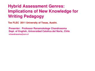Hybrid Assessment Genres: Implications of New Knowledge for Writing Pedagogy