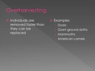 Overharvesting