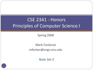 CSE 2341 - Honors Principles of Computer Science I