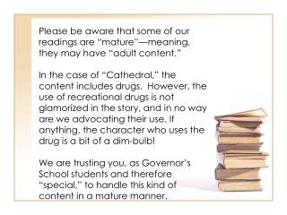 "Please be aware that some of our readings are ""mature""—meaning, they may have ""adult content."""