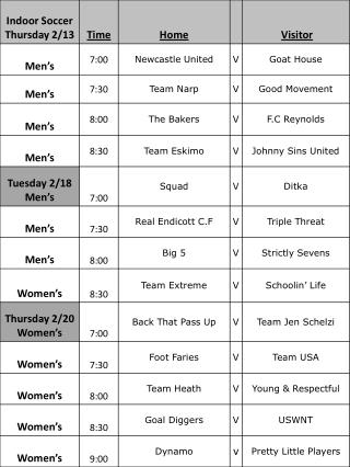 Indoor Schedule