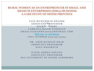 Faiz Muhammad Shaikh Assistant Professor SZABAC-Dokri Larkana-Sindh-Pakistan