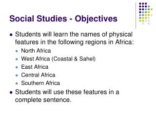 Social Studies - Objectives