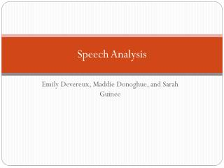 Speech  Analysis
