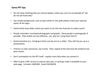 Some PPT tips