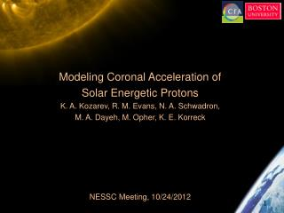 Modeling Coronal  Acceleration  of  Solar  Energetic Protons