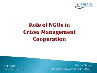 Role of NGOs in  Crises Management Cooperation