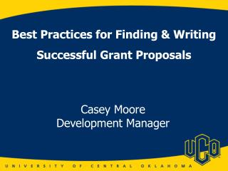 Best Practices for Finding & Writing Successful Grant Proposals