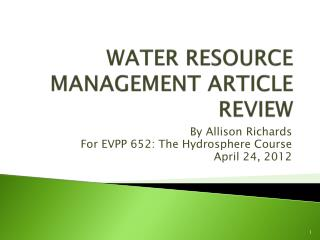 WATER RESOURCE MANAGEMENT ARTICLE REVIEW