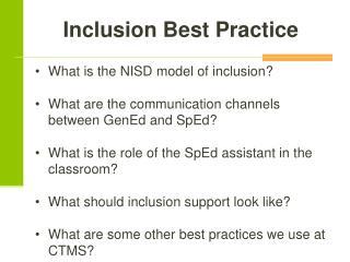 Inclusion Best Practice