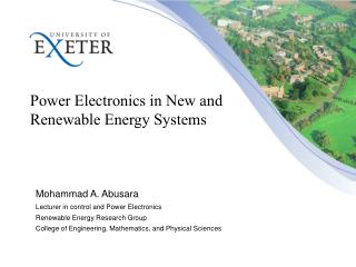 Power Electronics in New and Renewable Energy Systems
