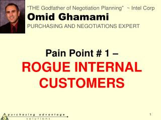 Pain Point # 1 �  ROGUE INTERNAL CUSTOMERS