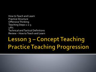 Lesson 3 – Concept Teaching Practice Teaching Progression