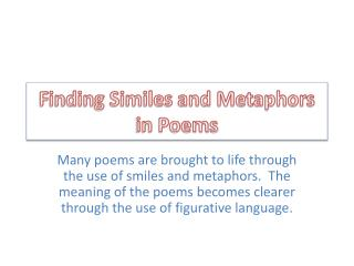 Finding Similes and Metaphors in Poems