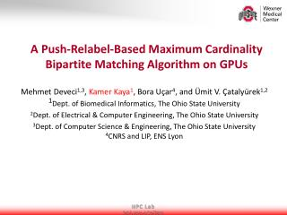 A Push- Relabel -Based Maximum Cardinality Bipartite Matching Algorithm on GPUs