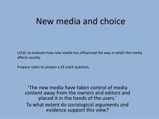 New media and choice