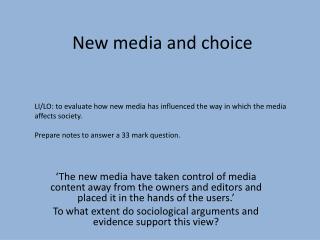 New media and choice