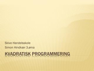 Kvadratisk programmering