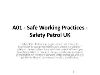 A01 - Safe Working Practices - Safety Patrol UK