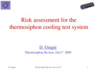 Risk assessment for the  thermosiphon  cooling test system