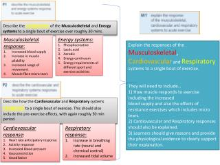 Musculoskeletal response :  I ncreased  blood  supply I ncrease  in muscle  pliability