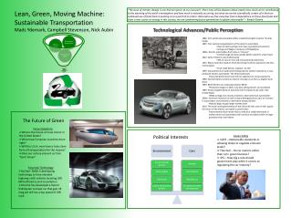 Lean, Green, Moving Machine: Sustainable Transportation