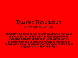 Russian Revolution Text pages 732 - 737