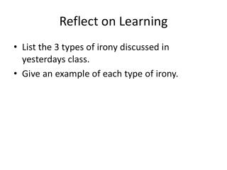 Reflect on Learning