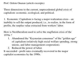Prof.  Ozlem Onaran  (article excerpts)